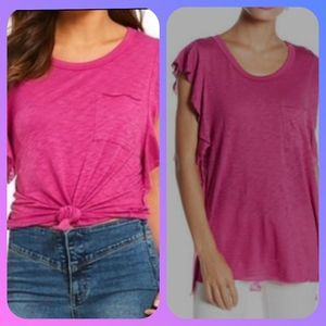 Free People flutter sleeve raw hem pink spring top